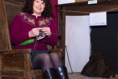 Shetland knitter knitting Fair Isle